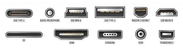 Usb, mini, micro, lightning, tipo a, b, c enchufes.