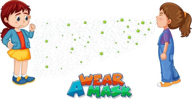 Use una fuente de máscara en estilo de dibujos animados con una mirada de niña a su amiga estornudando aislada sobre fondo blanco