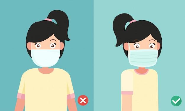 Uso incorrecto y correcto de la máscara para prevenir la infección, lado verde hacia afuera, ilustración