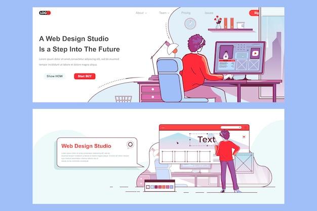 Uso de plantillas de páginas de destino de estudio de diseño web como encabezado