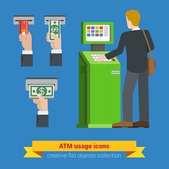 Uso de terminal de cajero automático tarjeta de crédito bancaria dinero billete s. opciones de pago bancarias finanzas dinero plano isométrico. colección de personas creativas.