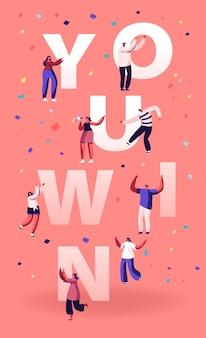 Usted gana el concepto. gente alegre riendo bailando y celebrando con las manos arriba. ilustración plana de dibujos animados