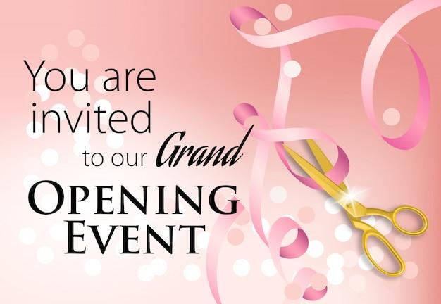 Usted está invitado a nuestro gran evento de inauguración letras con cinta