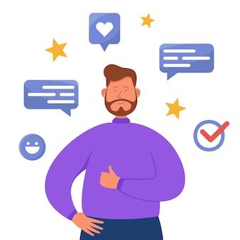 Usuario feliz dando una revisión positiva del servicio en línea