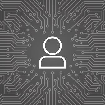 Usuario icono miembro sobre chip de computadora fondo de moterboard banner