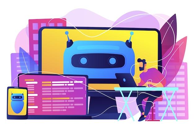 Usuario con pantallas de computadora, laptop y tableta con chatbot y hábitos digitales. ingeniero de software. ilustración aislada violeta vibrante brillante