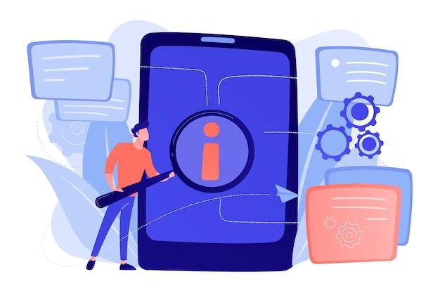Usuario que busca información en tableta con lupa. guía de asistencia técnica de productos electrónicos, manual para el concepto de hardware y software de computadora. vector ilustración aislada.