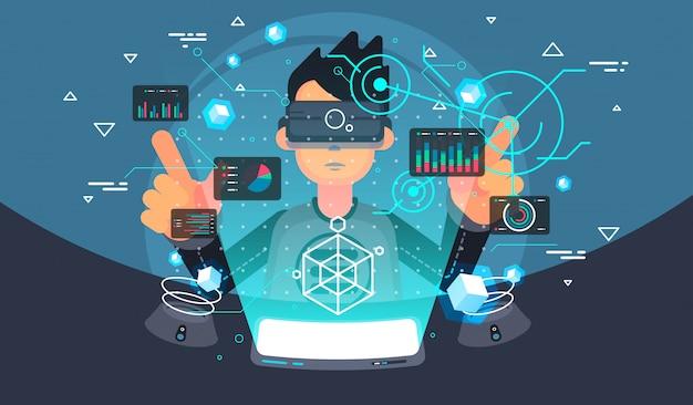 Usuario de realidad virtual. tecnología de realidad virtual. interfaz de usuario futurista.