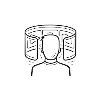 Usuario viendo el icono de doodle de contorno dibujado de mano de vídeo de realidad virtual. innovación video vr, concepto de entretenimiento.