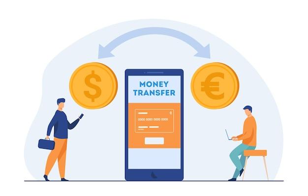 Usuarios de bancos móviles que transfieren dinero. conversión de moneda, gente pequeña, pago online. ilustración de dibujos animados