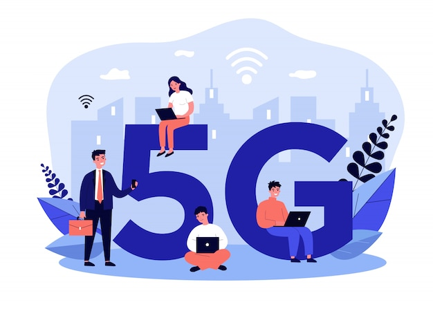 Usuarios de dispositivos que disfrutan de 5g city internet
