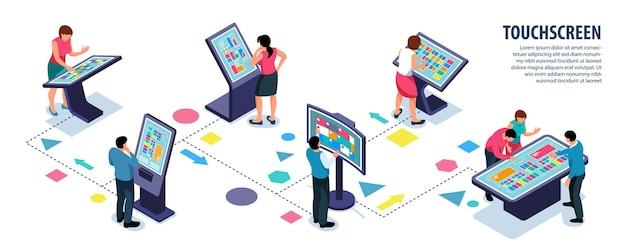 Usuarios interactivos isométricos con pantalla táctil e ilustración infográfica