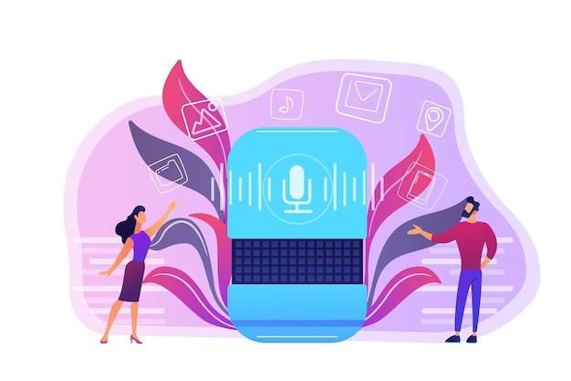 Usuarios que compran aplicaciones de altavoces inteligentes en línea ilustración
