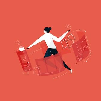 Usuarios que hacen compras en línea con la ilustración de realidad aumentada, compras en línea desde casa