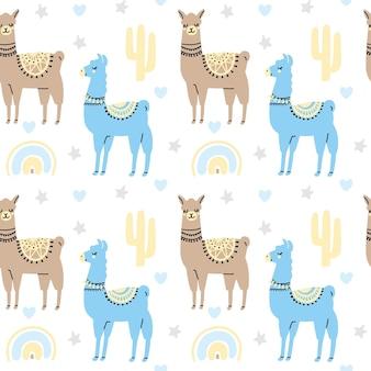 Ute lamas de patrones sin fisuras con cactus arco iris corazón estrella aislado sobre fondo blanco.