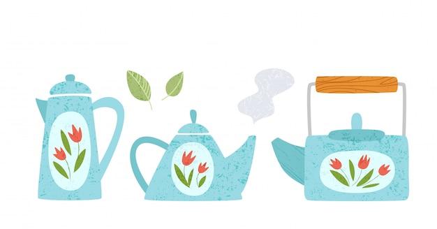 Utensilio de cocina, elementos de diseño de utensilios de cocina: diferentes teteras o kittles aislados en blanco
