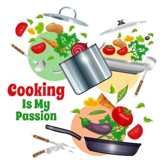 Utensilios de cocina y composición de verduras