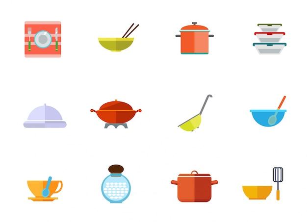 Utensilios de cocina conjunto de iconos