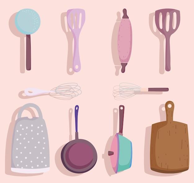 Utensilios de cocina, cubiertos, cuchara, mezclador, espátula, tabla de cortar, olla y cacerola en estilo de dibujos animados ilustración