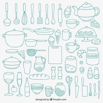 Utensilios de cocina dibujados a mano