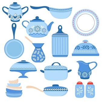 Utensilios de cocina de dibujos animados. vajilla de cocina y cristalería. platos taza y tetera. conjunto aislado de herramientas de cocina