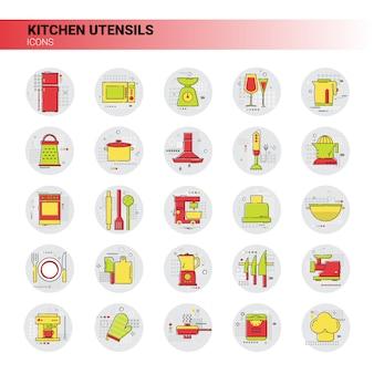 Utensilios de cocina, equipo de cocina, electrodomésticos, conjunto de iconos.
