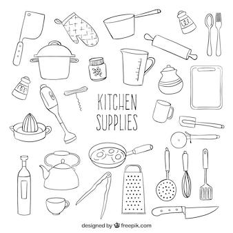 Utensilios de cocina esbozados