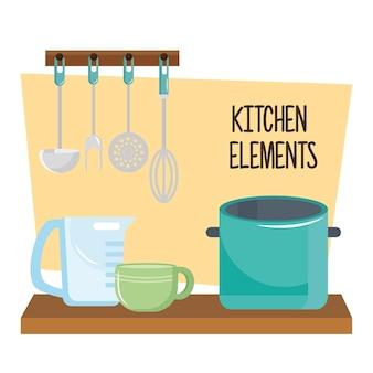 Utensilios de cocina en mesa de madera y cubiertos colgando, diseño de ilustraciones