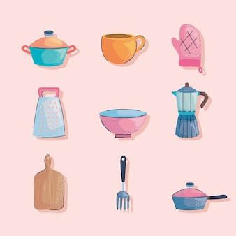 Utensilios de cocina nueve iconos