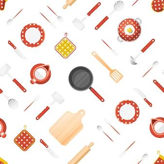 Utensilios de cocina de patrones sin fisuras