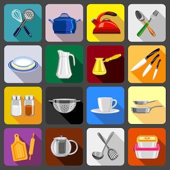 Utensilios de cocina platos iconos conjunto.