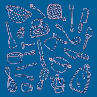 Utensilios de cocina y utensilios dibujados a mano.