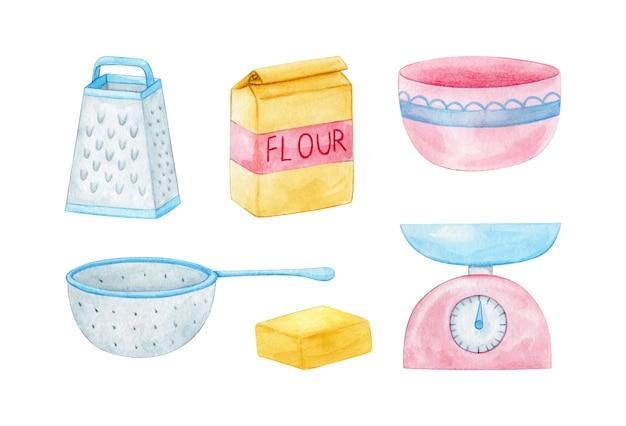 Utensilios de cocina y útiles de cocina en rosa pastel y azul pintados en acuarela