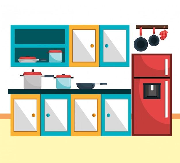 Utensilios de cocina y vajilla.