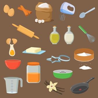 Utensilios e ingredientes para el conjunto de ilustraciones de postre.