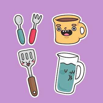 Utensilios taza, cuchara, tenedor, espátula y jarra linda ilustración de etiqueta de dibujos animados de cocina