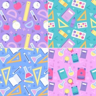 Útiles escolares diseño plano de patrones sin fisuras