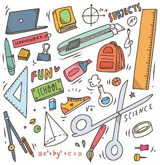 Útiles escolares doodle, regreso al elemento de vector de escuela