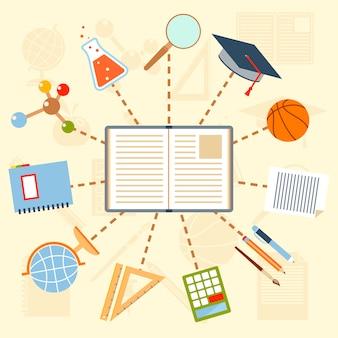 Útiles escolares y herramientas alrededor del libro.