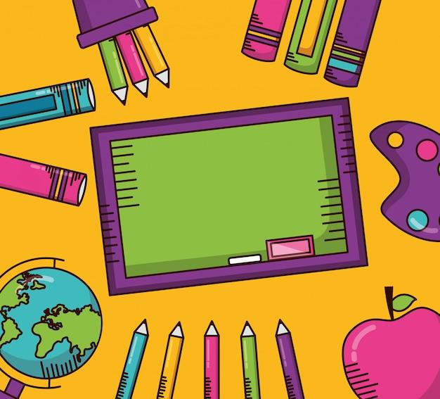 Útiles escolares y pizarra verde