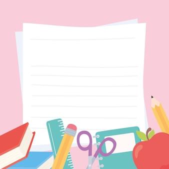 Útiles escolares tijeras estacionarias regla libro lápiz manzana y papeles