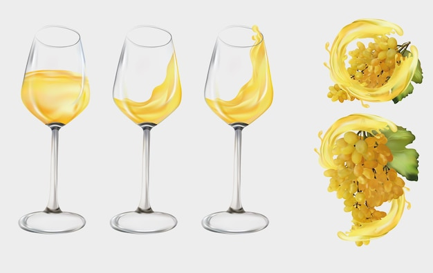 Uvas blancas realistas. copa de vino transparente llena de vino blanco. uvas de vino, uvas de mesa con vino blanco splash. ilustración