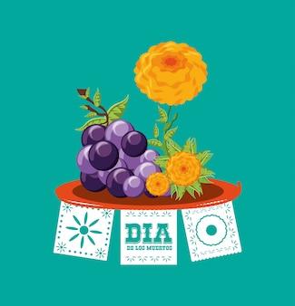 Uvas con flores para el día de los muertos