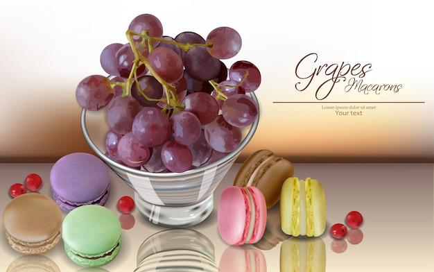 Uvas de frutas y macarrones.