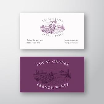 Uvas locales vinos franceses viñedo retro resumen vector signo o logotipo y plantilla de tarjeta de visita