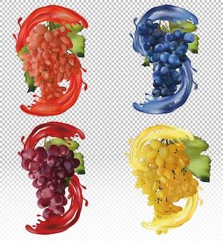 Uvas rojas, rosas y azules. uvas de vino, uvas de mesa con jugo de splash. fruta realista. ilustración vectorial