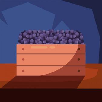 Uvas de vino dentro de la caja