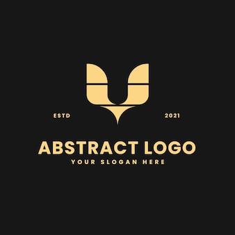V carta lujoso bloque geométrico de oro concepto logo vector icono ilustración