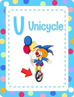 V flashcard del alfabeto con la letra u para monociclo