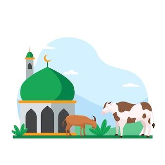 Vaca y cabra en el patio de la mezquita para qurban ilustración vectorial para vacaciones islámicas eid al adha